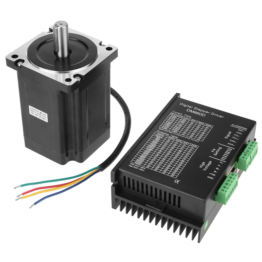 86HS118-6004A14-B34 DC Motor + DM860D Stepper Motor Driver 256microsteps