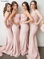 Pink Mermaid Bridesmaid Dresses Long Appliques 3D Flowers Zipper Back Sweep Train Prom Dress Wedding Guest Party Gowns Vestidos