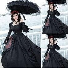 Freeship!Customer-made Black Vintage Costumes Renaissance Dress Steampunk dresses Gothic Cosplay Halloween Dresses C-1236