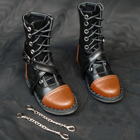 D01 P111 children handmade toy 1/3 1/4 Doll Accessories BJD/SD doll shoes Cross buckle black strap military boots 1 pair
