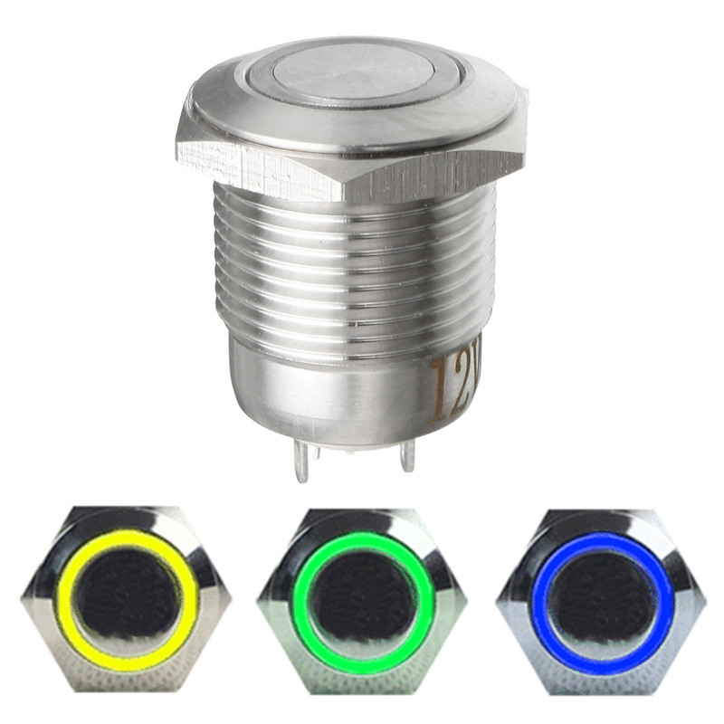 12V Stainless Steel Illuminated Latching 16mm Power Push Button ON/OFF Switch 16mm stainless steel latching on off power push button switch pm162f 11zet b 12v s ip67