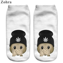 Zohra Funny Emoji Monkey 3D Printed Sock Women's Low Cut Ankle Socks Calcetines Hosiery Meias White Casual Sock