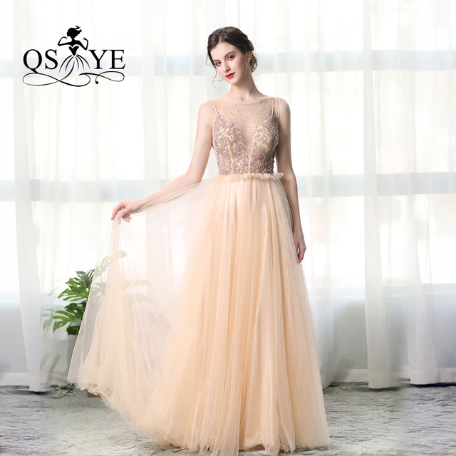 afdea26bf4 QSYYE 2019 Gold Champagne Heavy Beading Crystal Amazing Cheap Elegant Tulle  Evening Prom Dresses