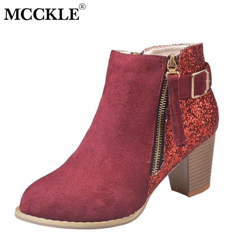 MCCKLE Autumn Women Bling Ankle Boots Plus Size High Heels Flock Zipper Glitter Female Casual Shoes Block Heel Short Botas Lady plus size oblique zipper color block hoodie
