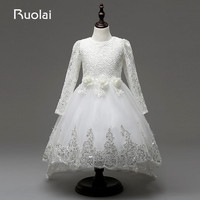 Real Picture Long Sleeves Lace Flower Girl Dress White Ivory For Wedding Birthday Party Rose Decorated