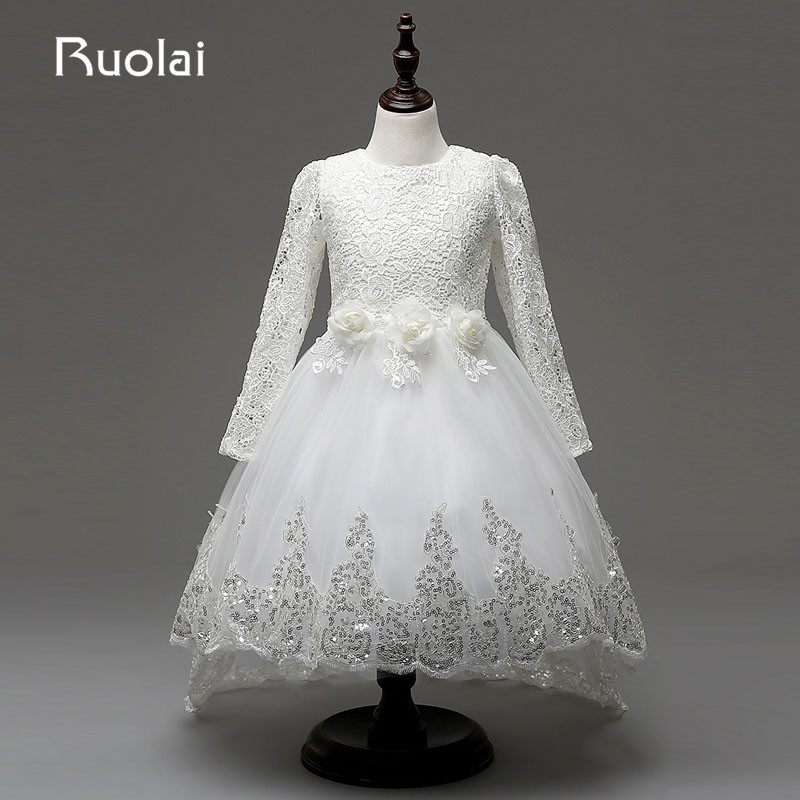 Real Picture Long Sleeves Lace   Flower     Girl     Dress   White/Ivory for Wedding Birthday Party Rose Decorated   Girls   Party   Dresses   AFG29