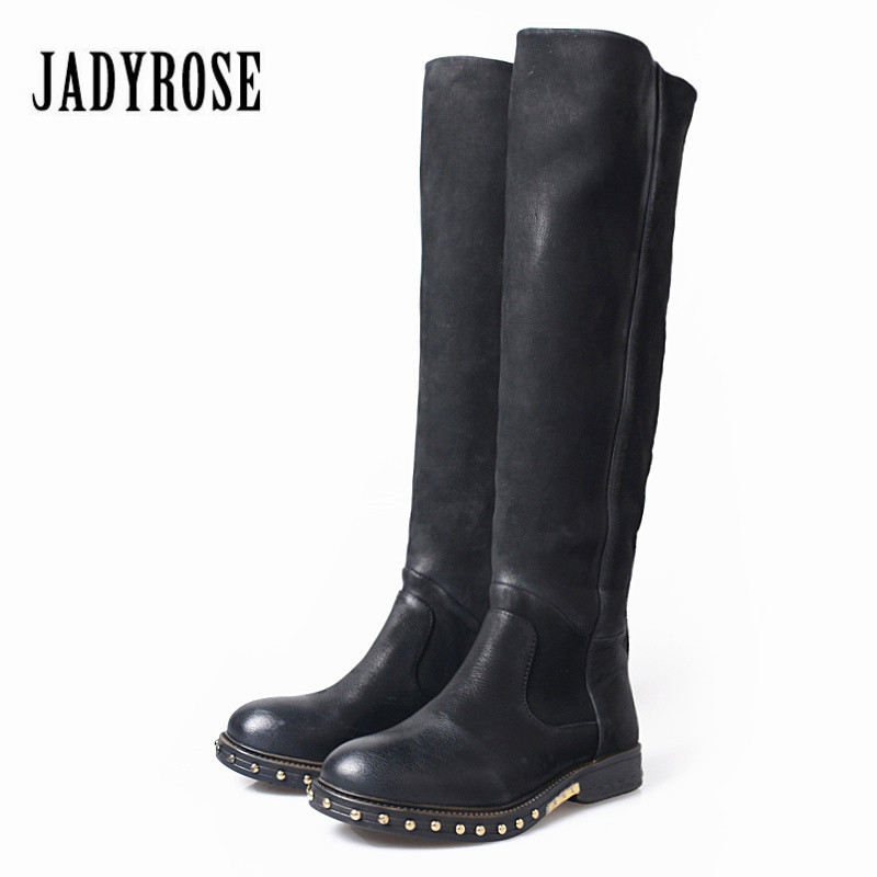 Jady Rose Black Women Knee High Boots Rivets Studded Women High Boots for Autumn Slim Fit Genuine Leather Rubber Shoes Woman
