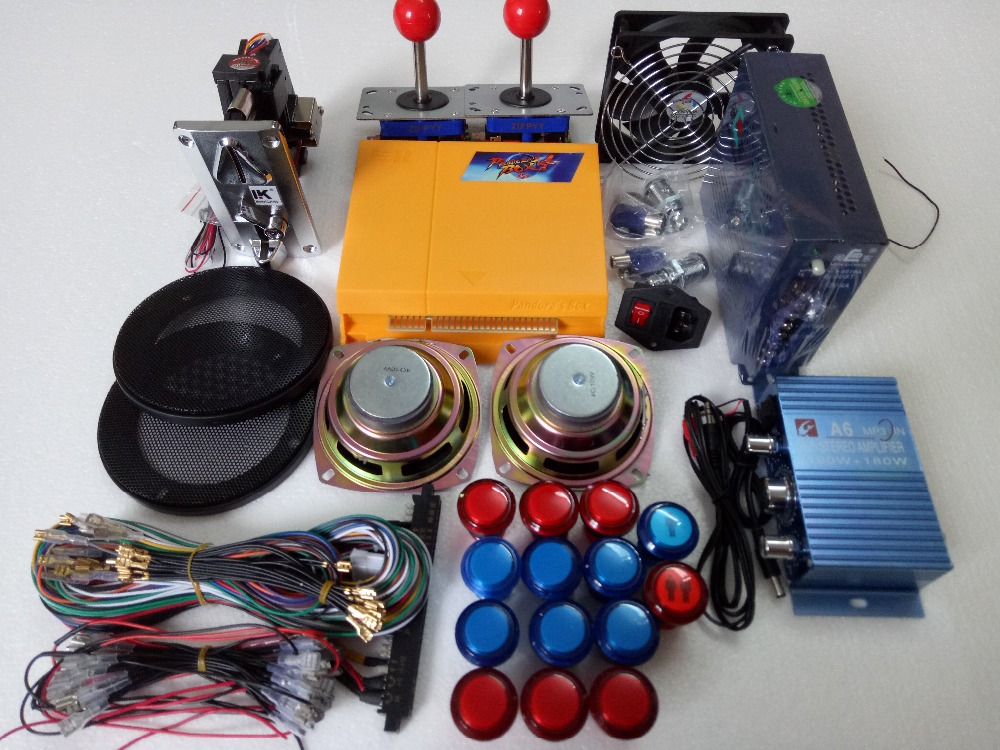 Arcade parts Bundles kit With 645 in 1 Pandora's Box 4 Joystick Microswitches American Style Button Build Up Arcade Cab Machine