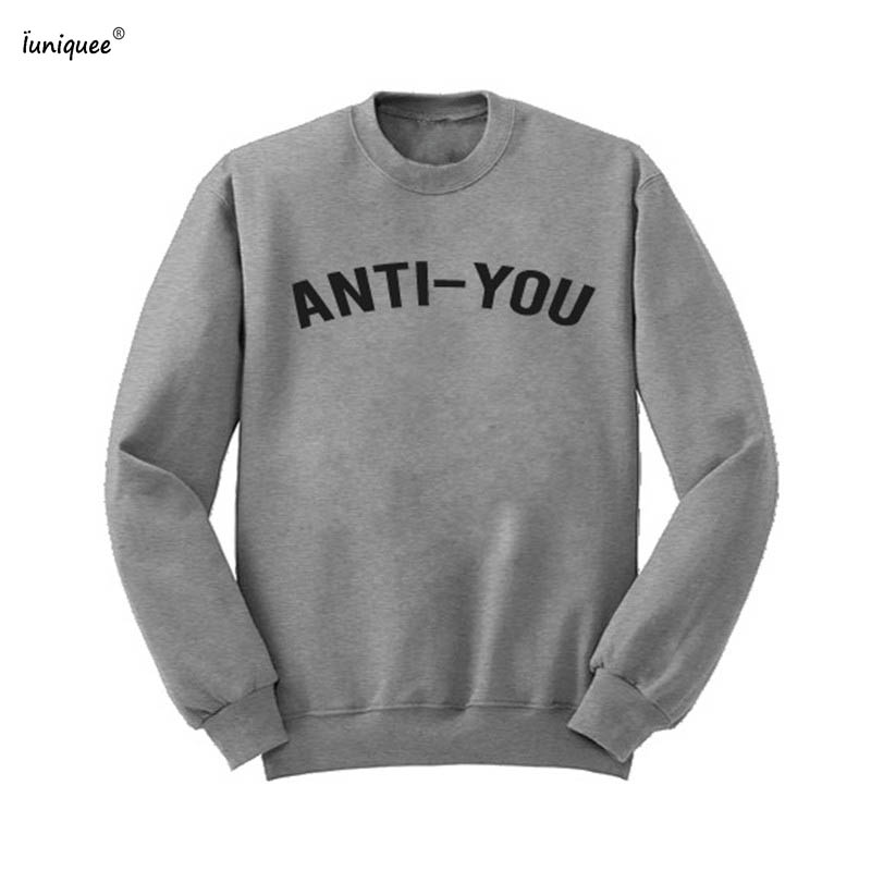 Zwarte Trui Mannen.Grappige Hilarische Anti U Tekst Print Paar Lover Mannen Sweatshirt