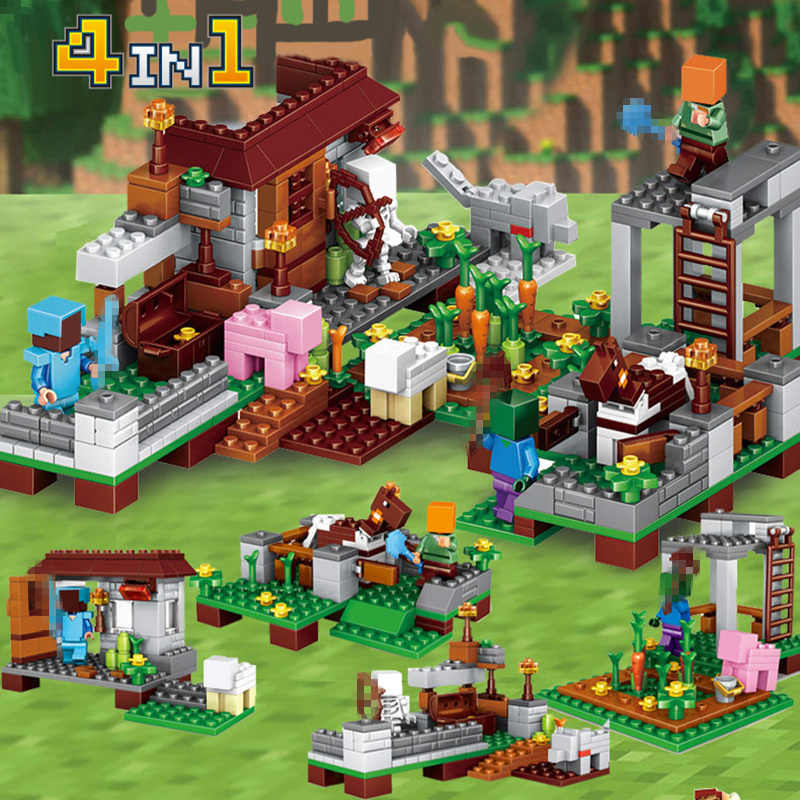 390pcs 4 in 1 Steve Village Castle Model Building Blocks Figures Compatible  Minecraft Legoed City DIY Mini Bricks Child Gift Toy