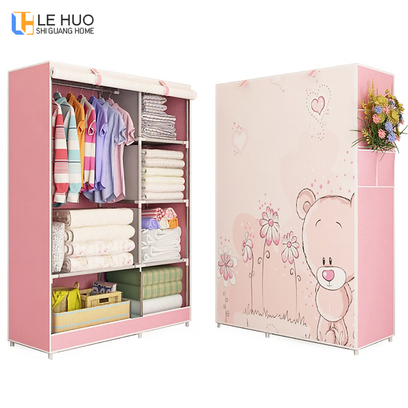3D Painting Wardrobe Non-woven Fabric Steel Frame Reinforcement Standing Storage Organizer Detachable Clothing Bedroom Storage