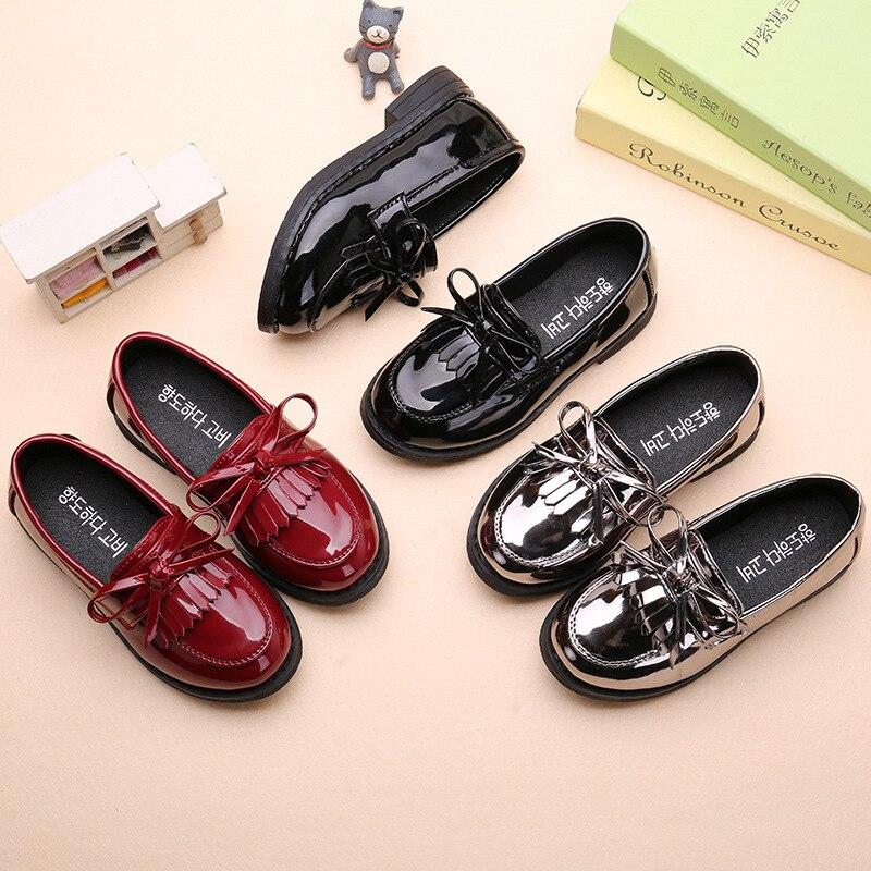 AFDSWG primavera e autunno scarpe per bambini della principessa nero tacco basso scarpe d'argento per le ragazze, di scuola scarpe nero, mocassini per i bambini
