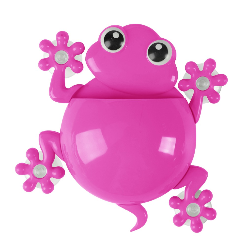 Plastic Cute Bathroom Gecko Wall Green Blue Purple Toothbrush Tooth Brush Holder Cute Cartoon Suction Cup Frog ToothBrush Holder image
