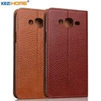 Case cho Samsung Galaxy J5 KEZiHOME Vải Da Chính Hãng Lật đứng Da Bìa capa Cho Samsung J5 2015 trường hợp Điện Thoại coque
