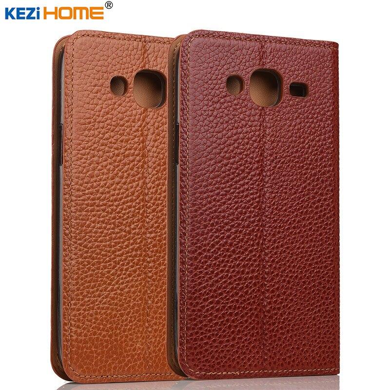 Цена за Чехол для Samsung Galaxy J5 kezihome личи Натуральная кожа флип Стенд кожаный чехол Капа для Samsung J5 2015 телефон случаях Coque