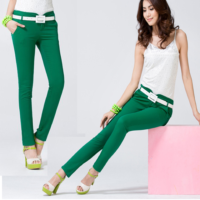 candy color womens casual soild color fashion high quality skinny pencil pants business office long pink - Buy Candy By Color