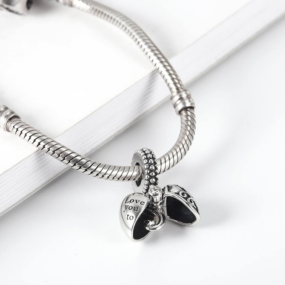 RainMarch Heart Pendant Fits Pandora Charms Bracelets Original 925 Silver Angel's Wings Beads Jewelry Making Dropshipping