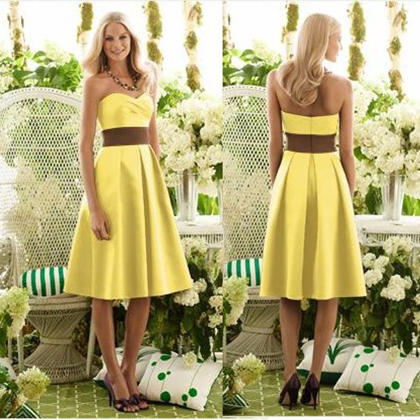 newest collection superior quality arrives Knee Length DB012 Western Style Sweetheart A Line Yellow ...