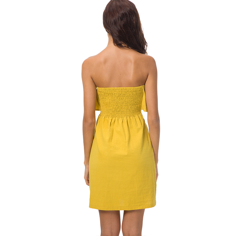 fe29656dd8fc TIGENA Women Summer Dresses and Sundresses 2018 Kawaii Off Shoulder  Strapless Tunic Dress Shirt With Sashes Yellow Robe Femme-in Dresses from  Women s ...