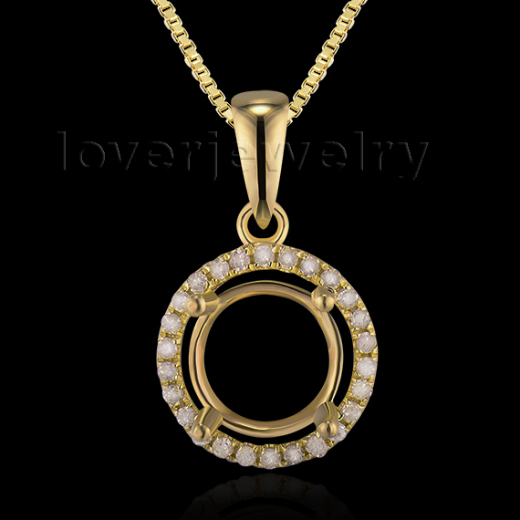 Wonderful Round 7xmm Solid 14Kt Yellow Gold Natural Diamond Semi mount Pendant E0053