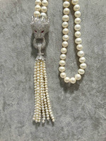 Free Shipping Natural Freshwater Pearl Necklace Long Pearl Necklace Real Pearls For Women Jewelry Leopard Pearl Tassels