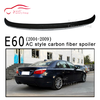 AC style Carbon Fiber Rear Spoiler Trunk Wing for BMW 5 Series E60 2004 - 2009 4-door Saloon 525i 528i 530i 535i Tail Boot Lip image