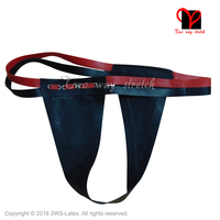 Black Sexy Latex Tongs with red belt Rubber G Strings underwear Bottoms underpanty pants panty KZ 117 plus size
