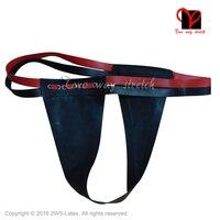 Black Sexy Latex Tang met rode riem Rubber G Strings ondergoed Bottoms underpanty broek panty KZ-117 plus size