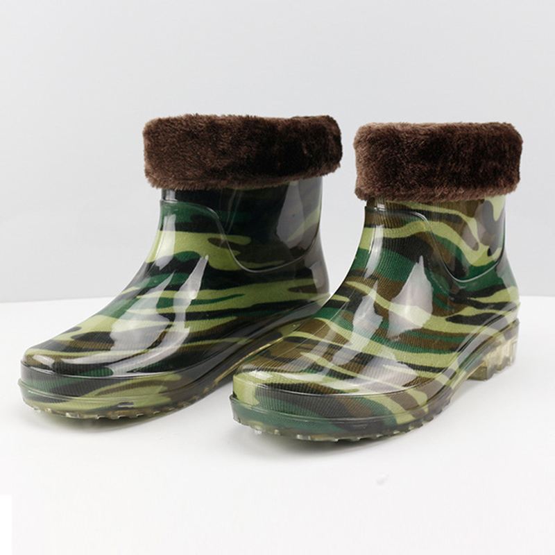 Men's Shoes Mens Fashion Tube Rain Boots Men Pvc Camouflage Wear Non-slip Rain Boots Mens Work Labor Insurance Shoes High Boots Wide Varieties Men's Casual Shoes