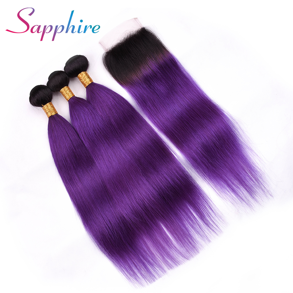 Sapphire Straight Hair Weaving 3 Bundles With Closure #T1B/Purple Color Free Part Lace Closure 100% Human Remy Hair