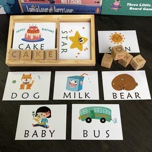 Image 3 - Tarjetas inglesas de aprendizaje Montessori para niños, alfabeto, palabras de ortografía, juegos infantiles, bloque de construcción de palabras, juguetes educativos para edades tempranas