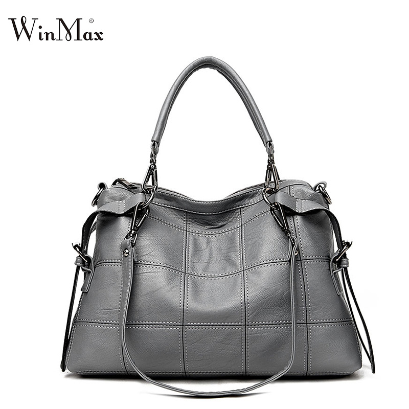 2018 Winmax factory fashion women Leather handbag famous brand Large wristle bag Ladies tote Hand bag vintage plaid shoulder bag vintage women s tote bag with strap and plaid design
