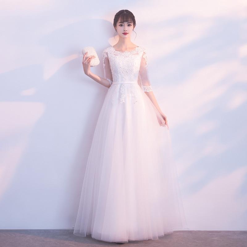 Robe de soirée de dame blanche orientale femmes col rond dentelle Cheongsam Style élégant longue Qipao Sexy Slim robes de mariée Vestidos XS-XXL