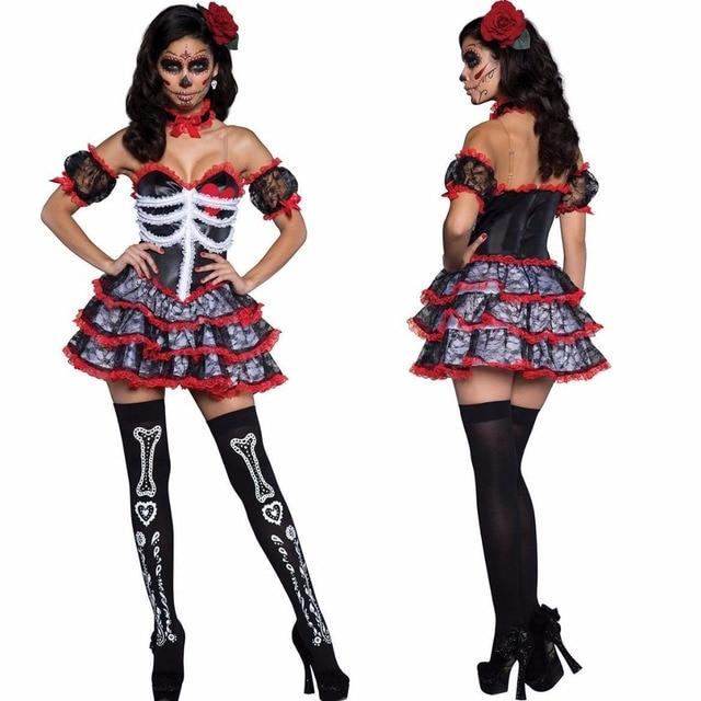 f19c27d83bd04 US $31.99 |Vampire Costume for Women Skull Zombies Cosplay Costume  Deguisement Halloween Costumes for Women Carnival Costume Fancy Dress on ...