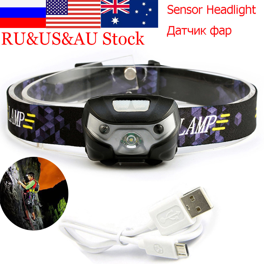 USB LED Mini Headlamp Rechargeable LED Bicycle Light <font><b>3000LM</b></font> Body Motion Sensor Headlight for Camping Bicycling image