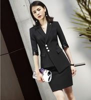 Fashion Black Formal Business Suits With Blazer and Skirt For Women Uniform Styles Professional Half Sleeve Blazers Set