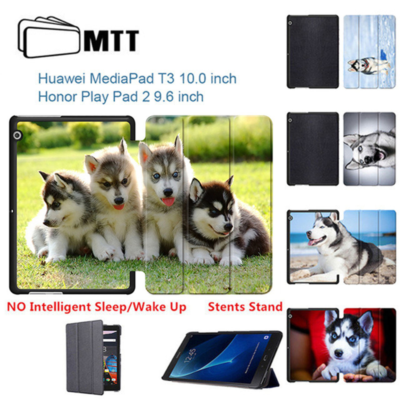 MTT Husky Dog PU Leather case for Huawei MediaPad T3 10 AGS-L09 AGS-L03 tablet case Stand cover for Huawei Honor Play Pad 2 9.6 case for huawei honor 7x shockproof with stand 360 rotation back cover contrast color hard pc