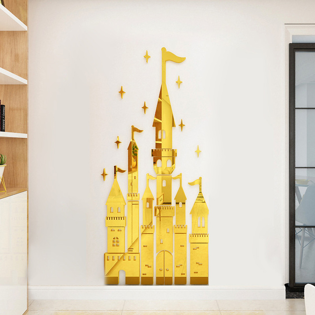 mirror wall stickers fairy tale castle design acrylic stickers gold