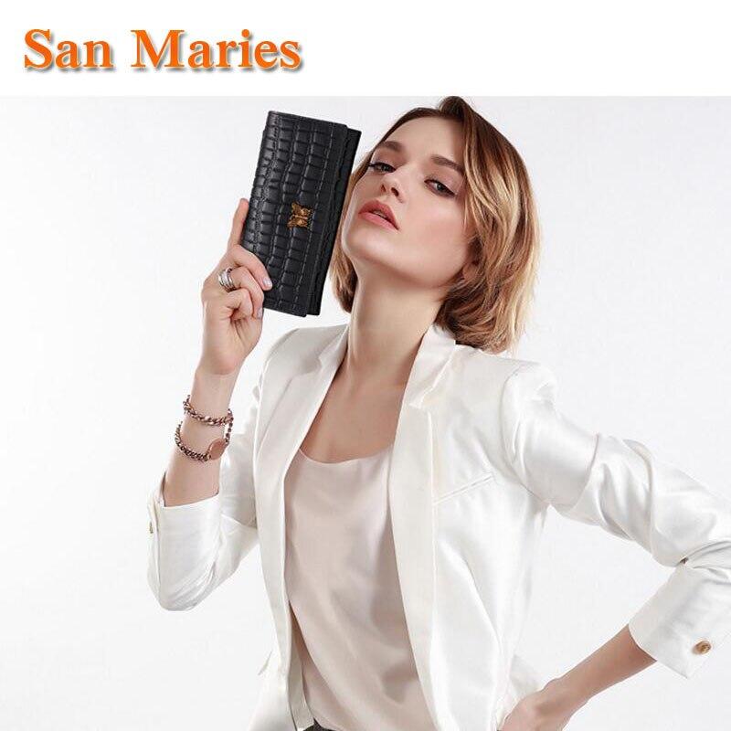 San Maries Luxury Designer Genuine Leather Alligator Ladies Crocodile Butterfly Long Clutch Female Wallets Women Wallet