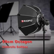 TRIOPO 55 см восьмиугольный зонтик софтбокс с ручкой для Godox On-Camare Flash студийные аксессуары для вспышки и фотографии Мягкая коробка