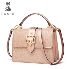 FOXER Women Leather Crossbody Bags Cowhide Female HandBag Fashion Blingbling Messenger Bag Girls New Fashion Shoulder Bag