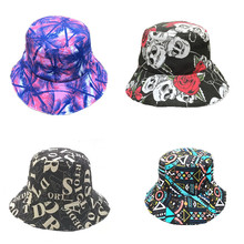 a9bba46f97b Men Women Bucket Hat Flower Print Cap 2019 Summer Flat Hat Fishing Boonie  Bush Cap Outdoor