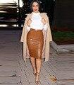Women Autumn Winter Warm  PU Leather Long Midi Pencil Office Business Casual Skirt faldas saia longa SJ8016