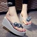 Atractivo de Las Mujeres flip flop Flor Sandalias con tacón En Cuña de la plataforma de Las sandalias de Las Señoras sandalias de Tacón Alto de las mujeres Zapatos de verano