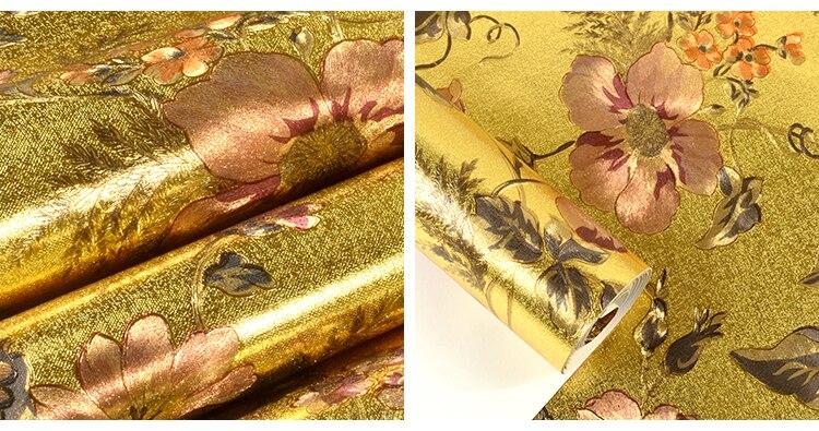 Papier peint européen en métal doré papier peint 3d en relief salon Tv fond papier peint rouleau argent or papier peint décor à la maison - 5