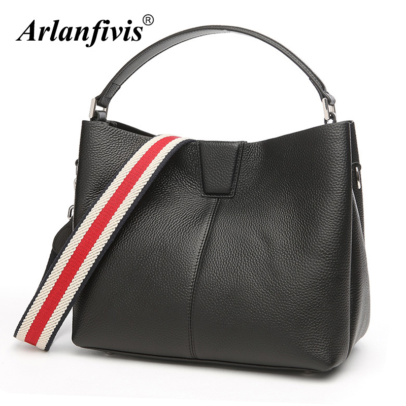Arlanfivis Genuine Leather Luxury Women Hobo Bag Lady's Shopping Bags Large Capacity Cowhide Female Leather Handbag Wide Strap arlanfivis genuine leather new designer 2018 fashion woman bag cowhide large capacity female handbag wide strap crossbody bags