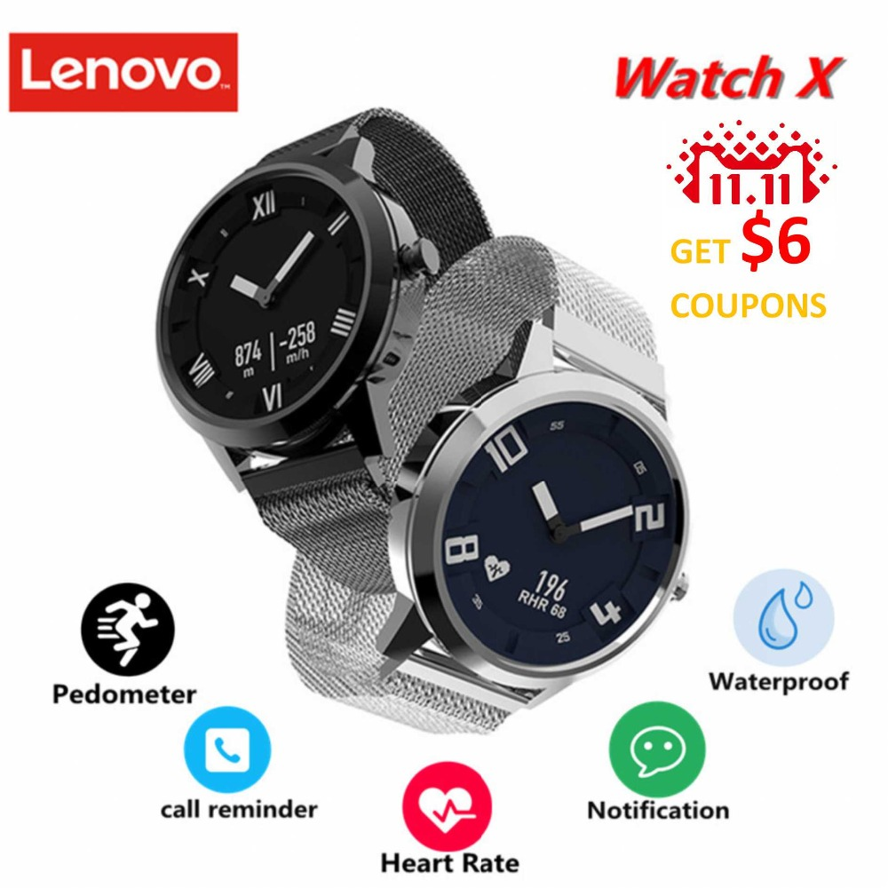 Lenovo Watch X Smartwatch Waterproof Milanese Strap 45 Days Standby Time 80 Meters Heart Rate Sleep Monitor Smart Watch цены