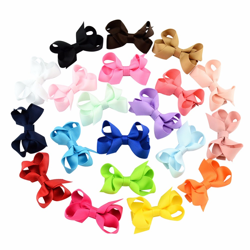 2.4 inches Solid Hair Bow Cute Cheer Bow Ribbon Bow Boutique Hairpins Barrettes Hair Accessory Headwear DIY Gift For Kids 2017