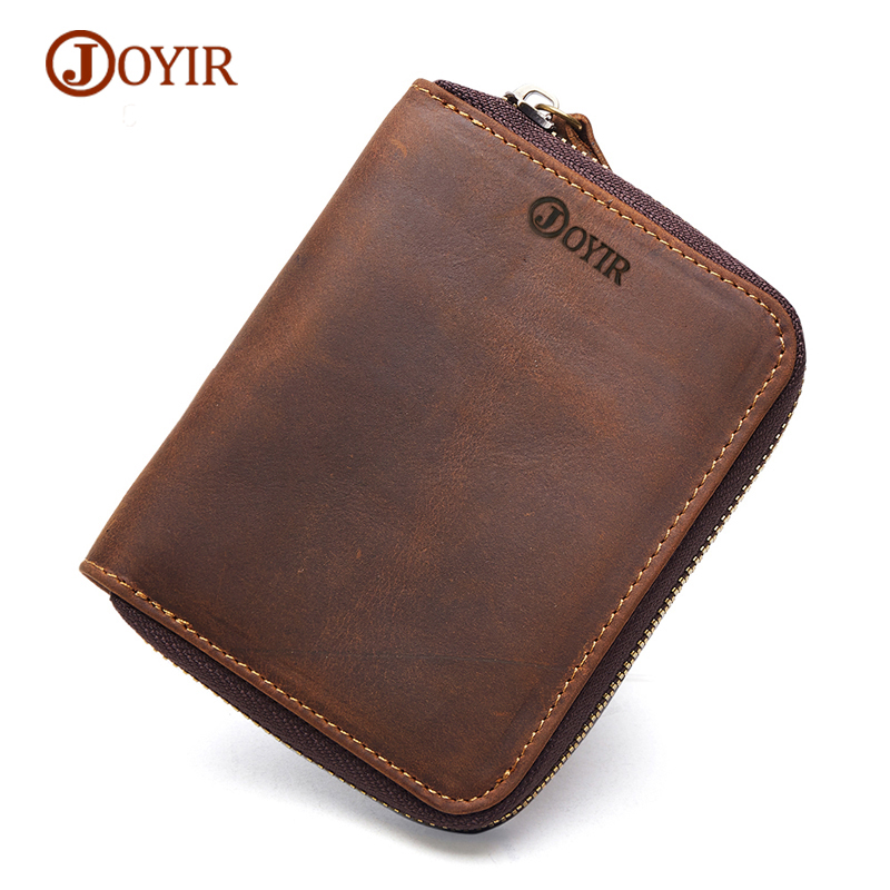 JOYIR Mens Genuine Leather Wallet Men Leather Vintage Coin Purse Small Male Wallets Short Card Holder Male Purse Pocket Walet
