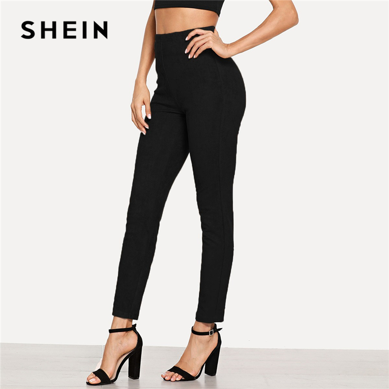 SHEIN Black Office Lady Solid Suede Long   Leggings   Autumn Women Elegant Workwear Women Pants Trousers